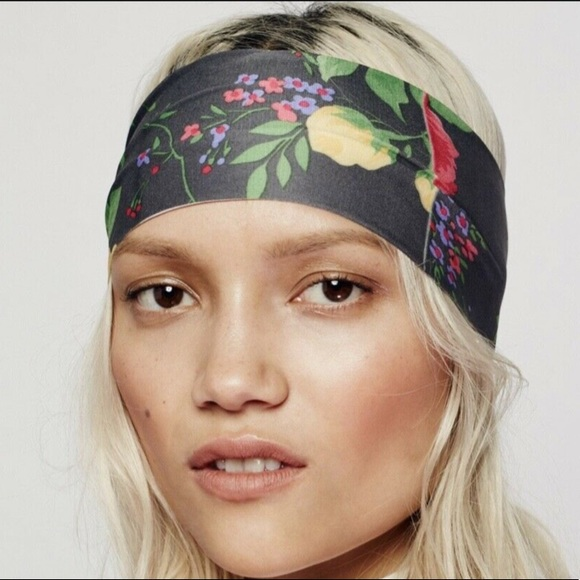 NEW Free People Clarissa Printed Headband Wideband Hair Accessory Green Floral